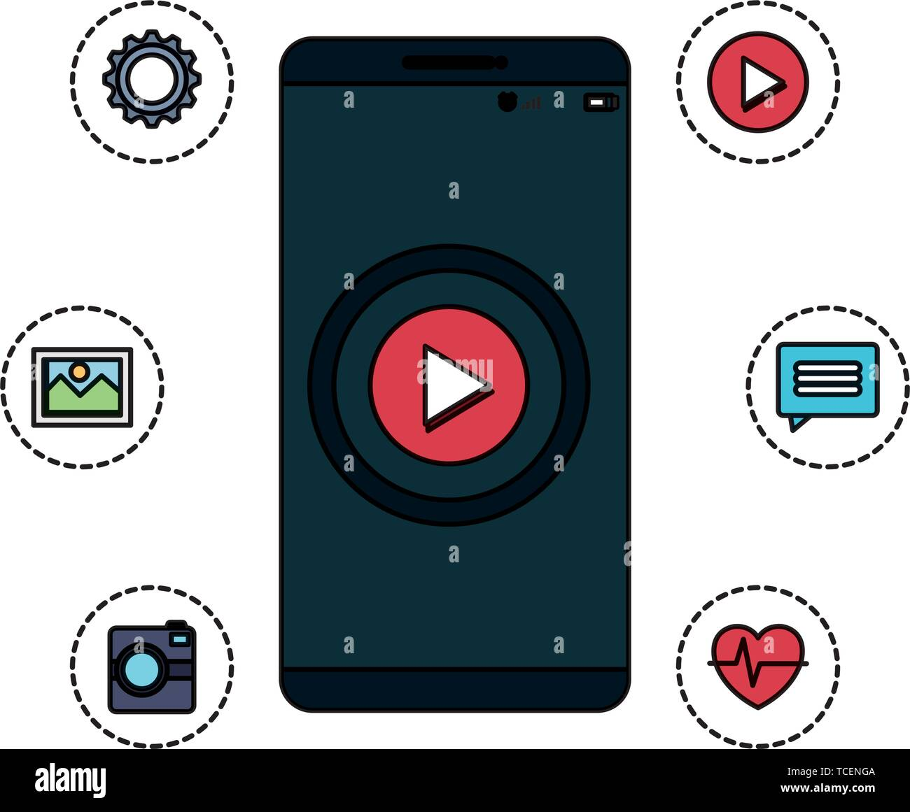 smartphone technology with play button and applications menu Stock Vector