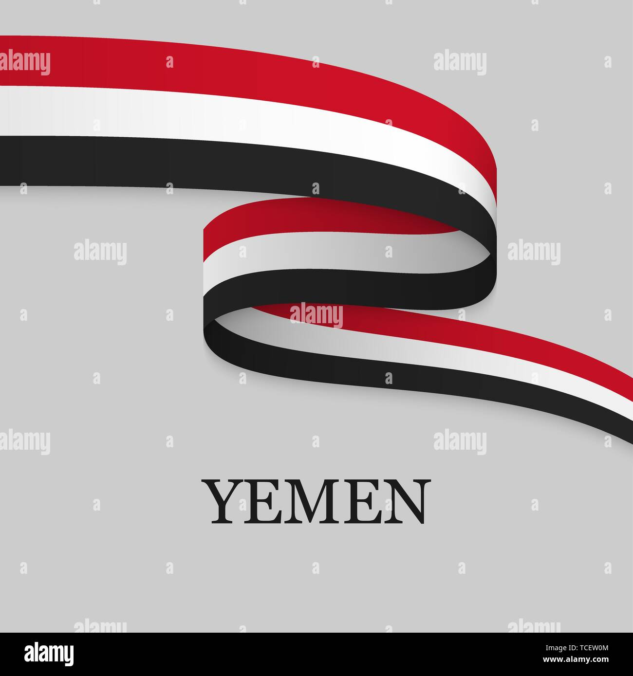Waving ribbon or banner with flag of Yemen. Template for independence day poster design - Stock Vector