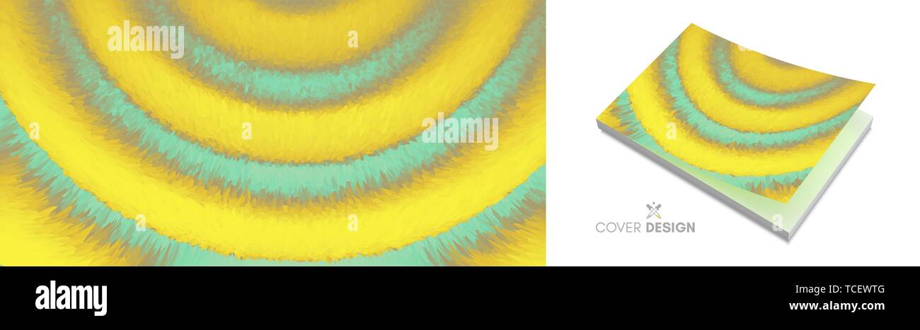 Cover design template. 3D wavy background with ripple effect. Vector illustration for placards, flyers, banners, book covers, brochures, planners and  - Stock Image