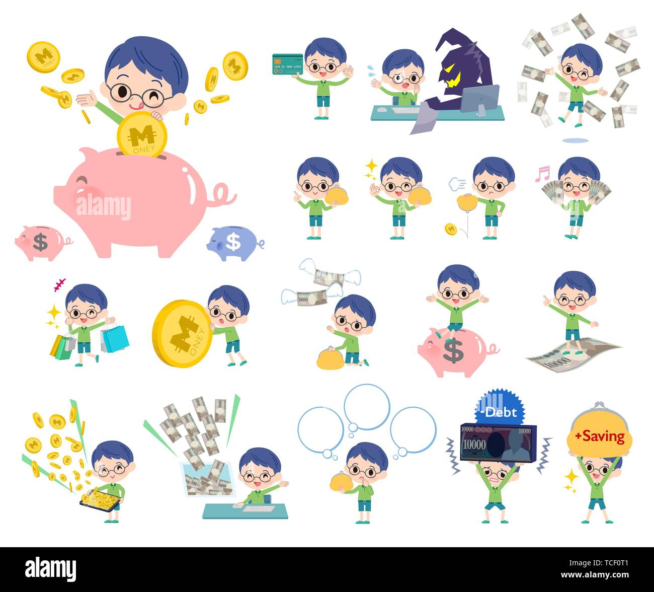 A set of boy with concerning money and economy.There are also actions on success and failure.It's vector art so it's easy to edit. - Stock Image