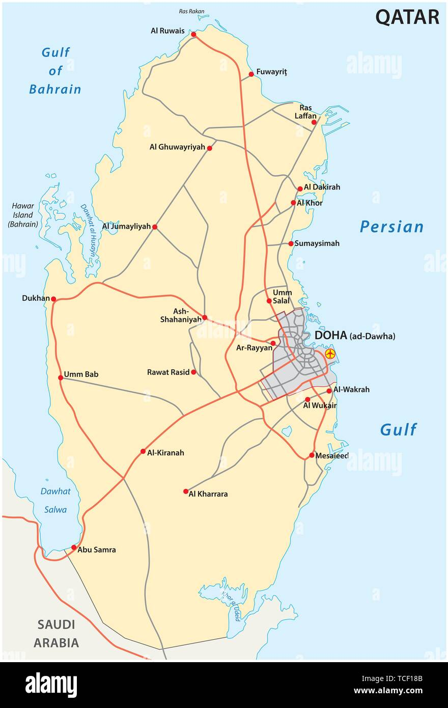 bahrain road map download Road Map Of The States Of Qatar Stock Vector Image Art Alamy bahrain road map download