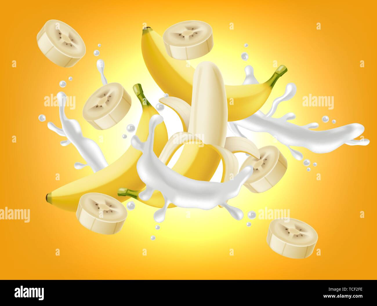 Banana splash Vector realistic  Yogurt or milk pourring