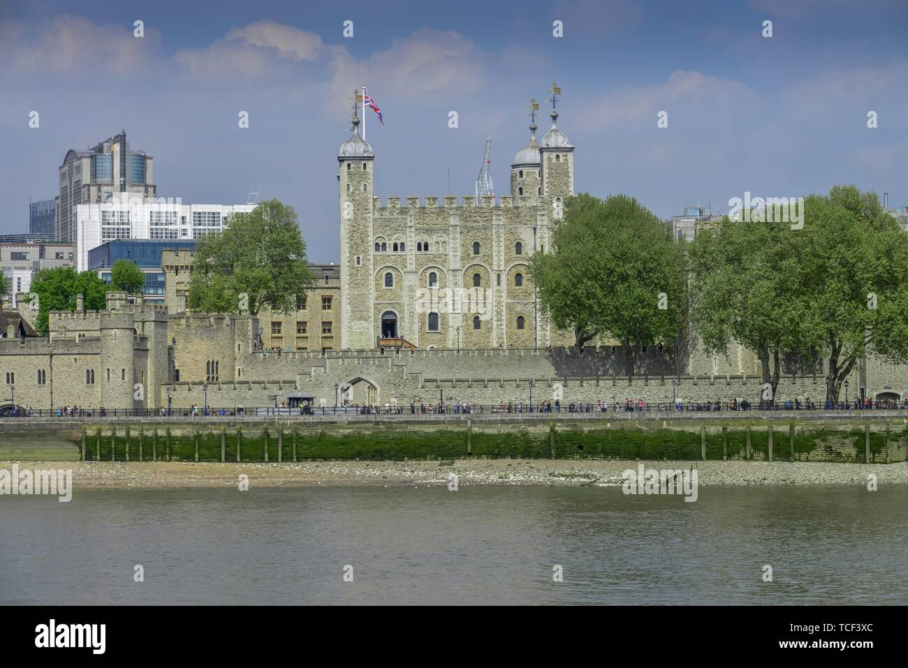 Tower of London on the River Thames, London, England, United Kingdom - Stock Image
