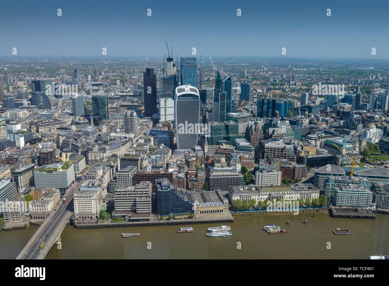 City view, Thames with Financial District, The City of London, London, England, Great Britain - Stock Image