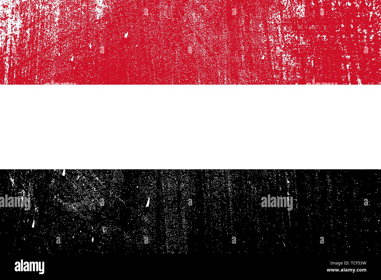 grunge styled flag of Yemen . Template for your design . Template for your design - Stock Vector