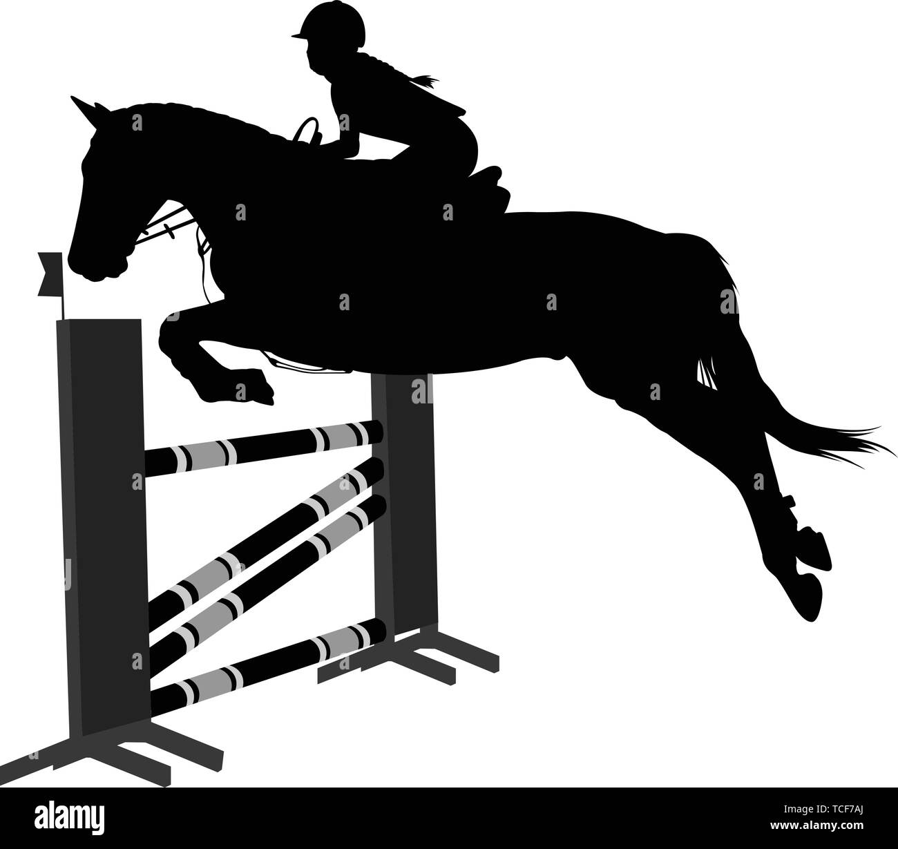 jumping show.equestrian sport  horse with jockey jumping a hurdle silhouette - vector - Stock Vector