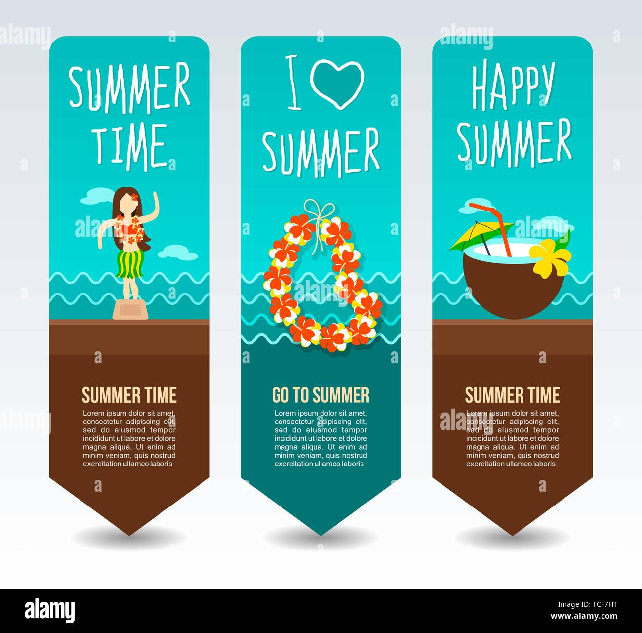 Necklace wreath flower, beach coconut drink cocktail and hula dancer statuette. Summer Travel and vacation vector banners. Summertime. Holiday - Stock Image