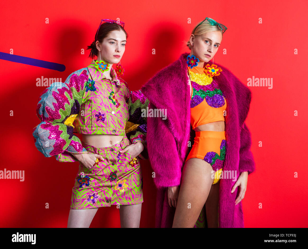 Models Emmie Brookes Left And Robyn Cadman Right Model Designs From The Make Everyday A Festival Collection By Fashion Designer Laura Shannon Harding Ahead Of The Leeds Arts University Graduate Fashion Show Stock
