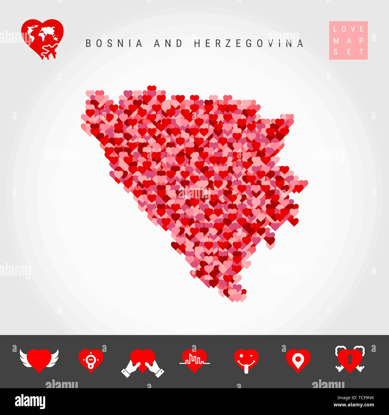I Love Bosnia and Herzegovina. Red and Pink Hearts Pattern Vector Map of Bosnia and Herzegovina Isolated on Grey Background. Love Icon Set. - Stock Vector