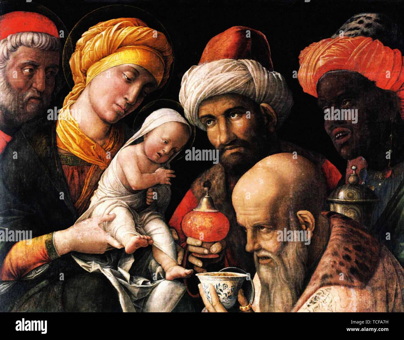 Andrea Mantegna - Adoration Magi 1500 - Stock Image