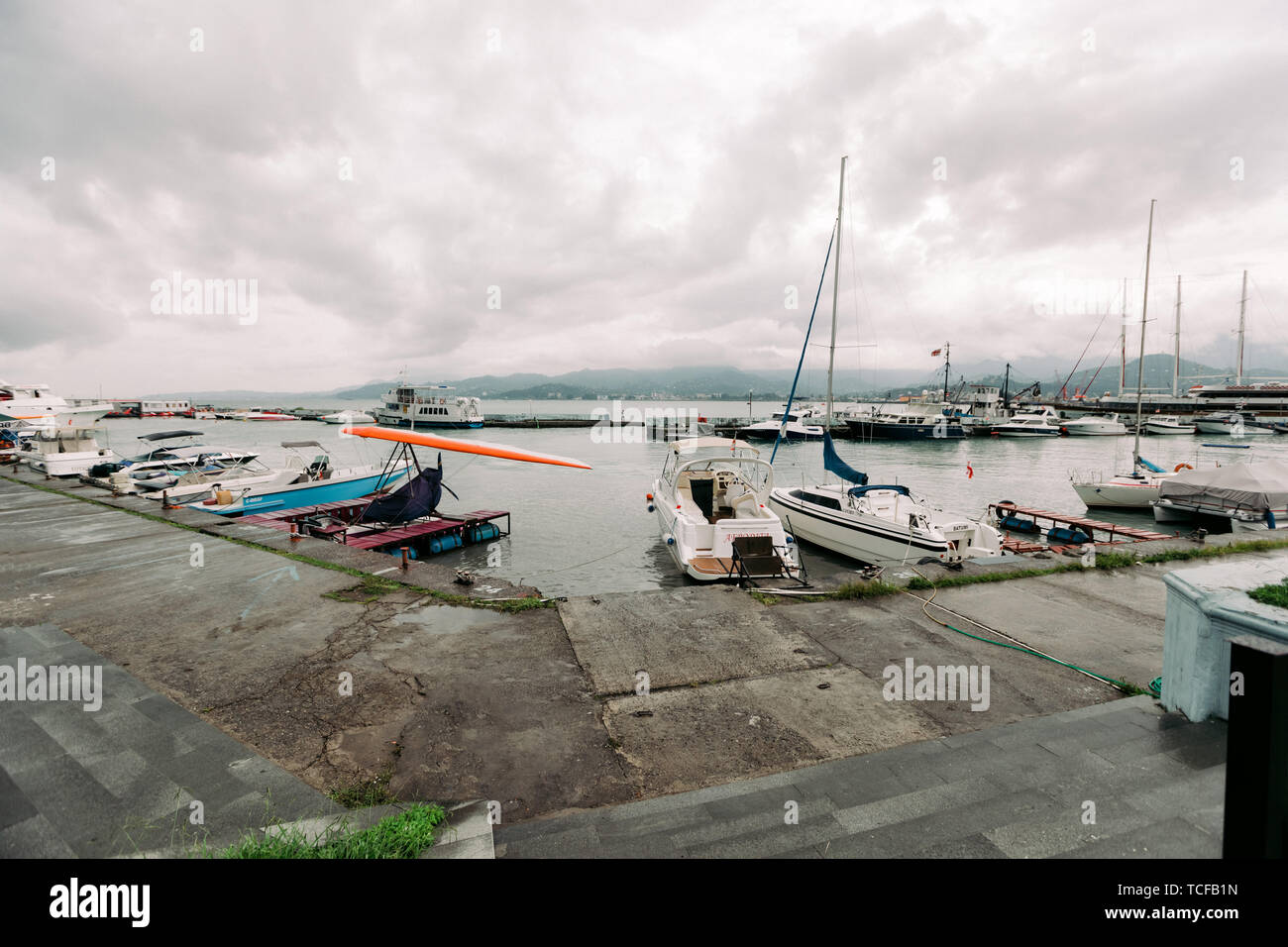 BATUMI, GEORGIA - September 10, 2018: moored in port pleasure boats in the daytime in Batumi, Georgia - Stock Image