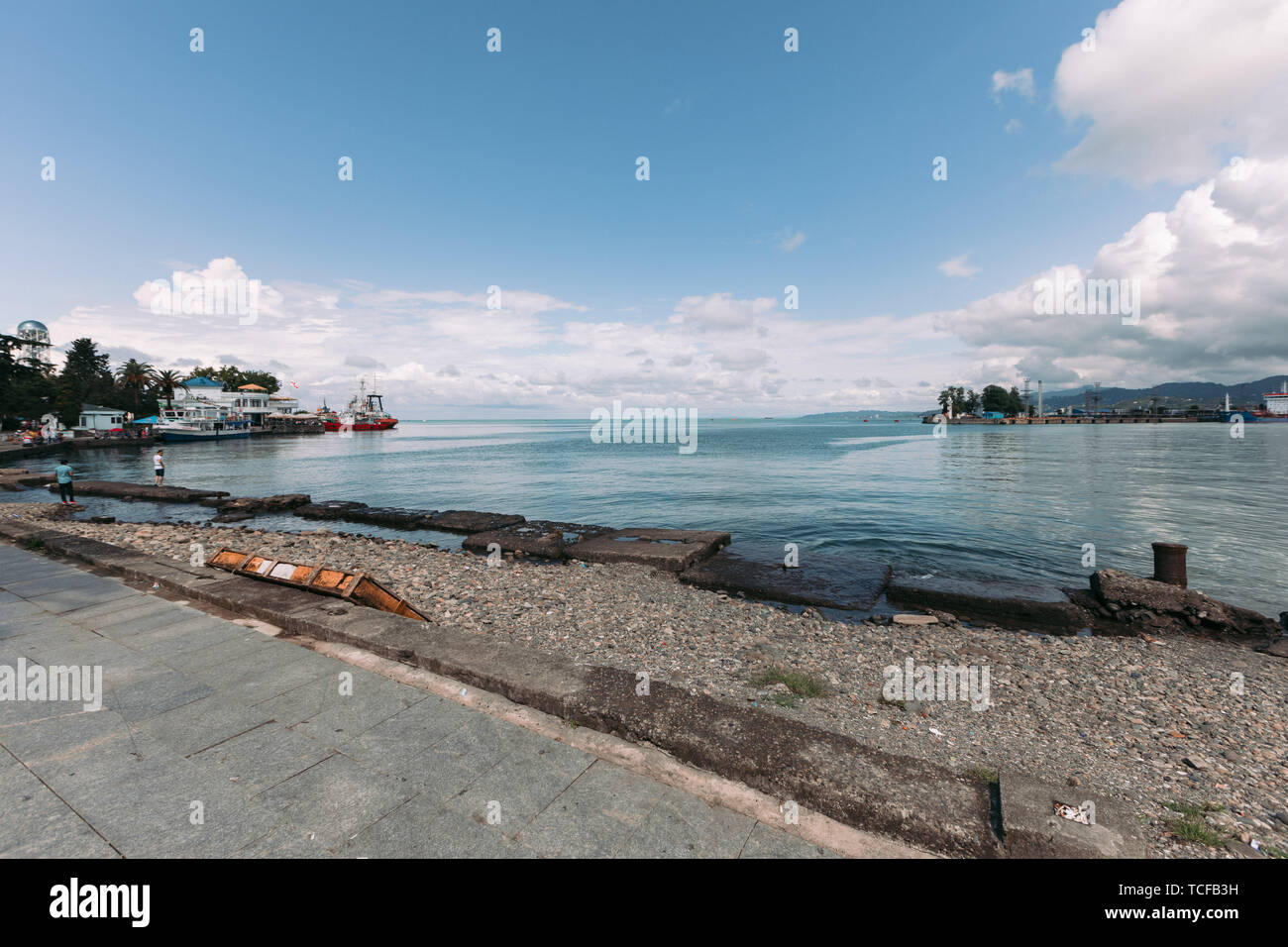 BATUMI, GEORGIA - September 11, 2018: View on the port of Batumi, Georgia in sunny day - Stock Image