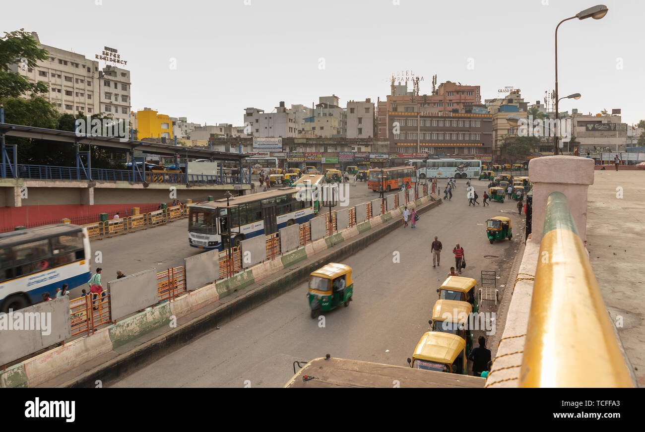 BANGALORE INDIA June 3, 2019:Buses entering into the Kempegowda Bus Station known as Majestic during morning time traffic congestion - Stock Image