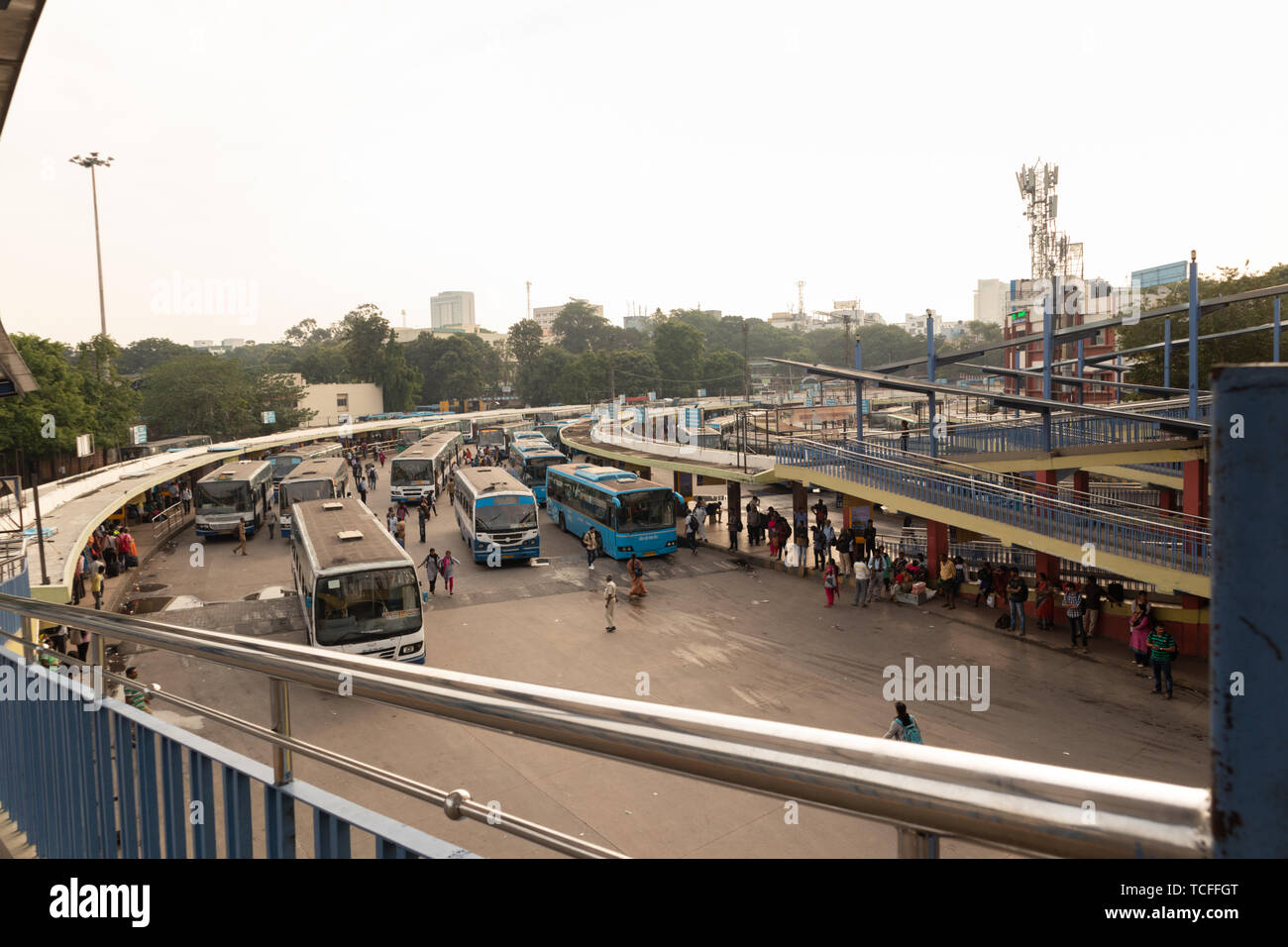 BANGALORE INDIA June 3, 2019:Buses in the Kempegowda Bus Station known as Majestic during morning time traffic congestion - Stock Image