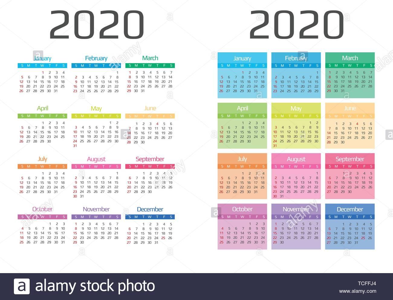 Event Calendar 2020 Calendar 2020 template.12 Months include holiday event Stock