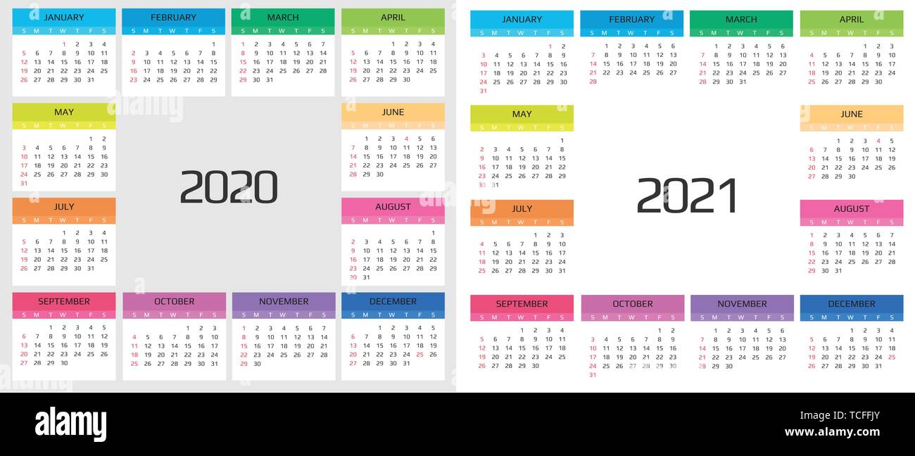 Calendar 2020 template. 12 Months include holiday event - Stock Image