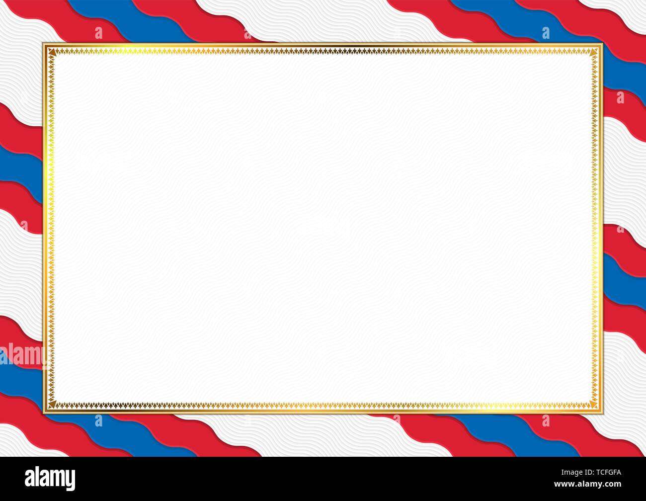 Border made with Mongolia national colors. Template elements for your certificate and diploma. Horizontal orientation. Vector - Stock Vector