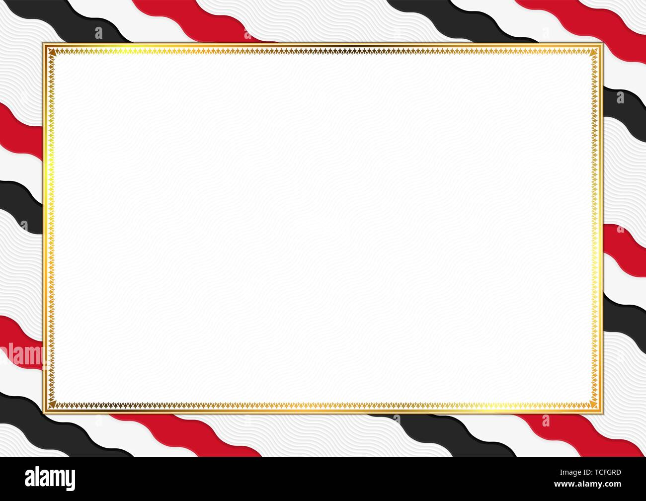 Border made with Yemen national colors. Template elements for your certificate and diploma. Horizontal orientation. Vector - Stock Vector
