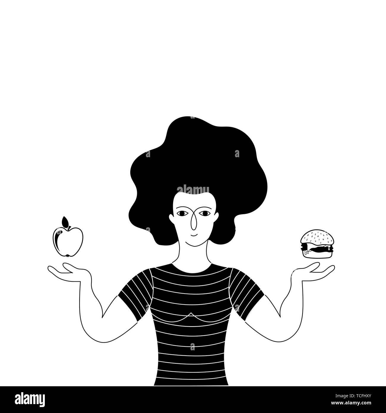 A woman chooses between a hamburger and an apple. Unhealthy vs healthy food. Hand drawn vector illustration. - Stock Image