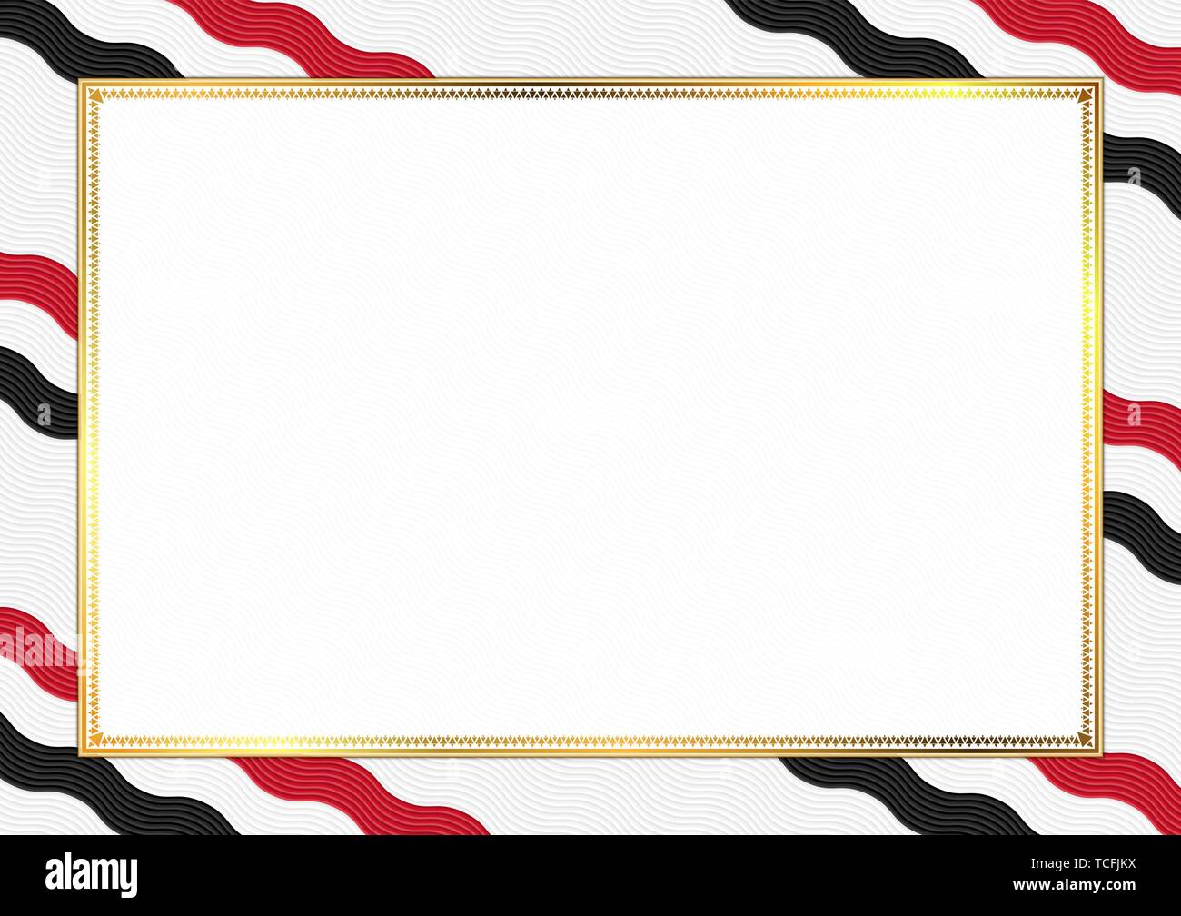 Border made with Yemen national colors. Template elements for your certificate and diploma. Horizontal orientation. Vector Stock Vector