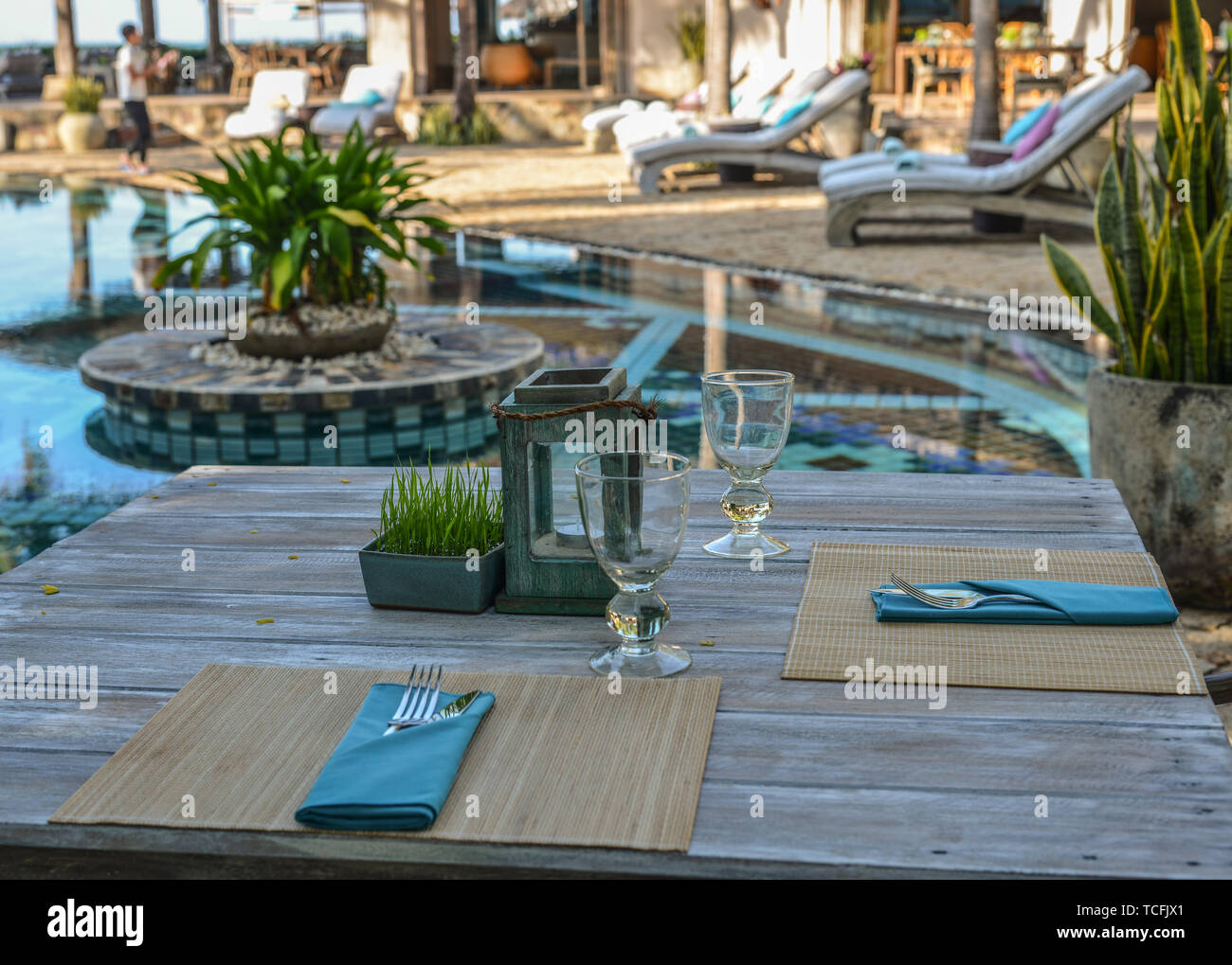 Outdoor Furniture In The Luxury Restaurant Tables And Chairs Stock Photo Alamy