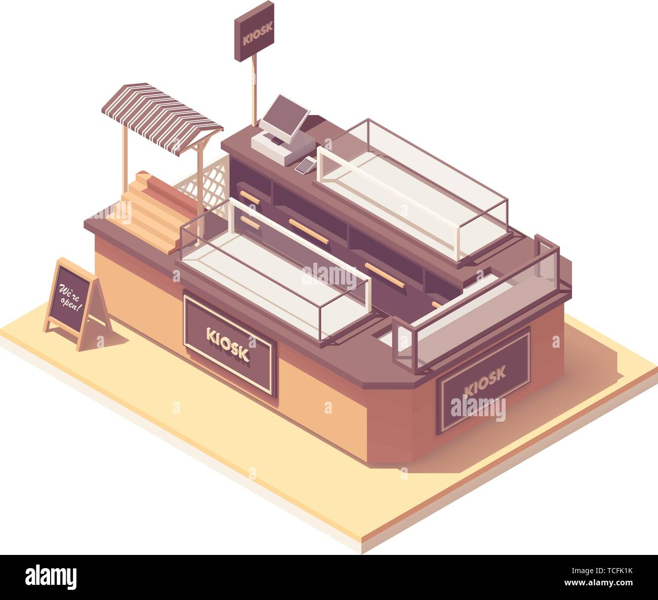Vector isometric mall retail kiosk - Stock Vector