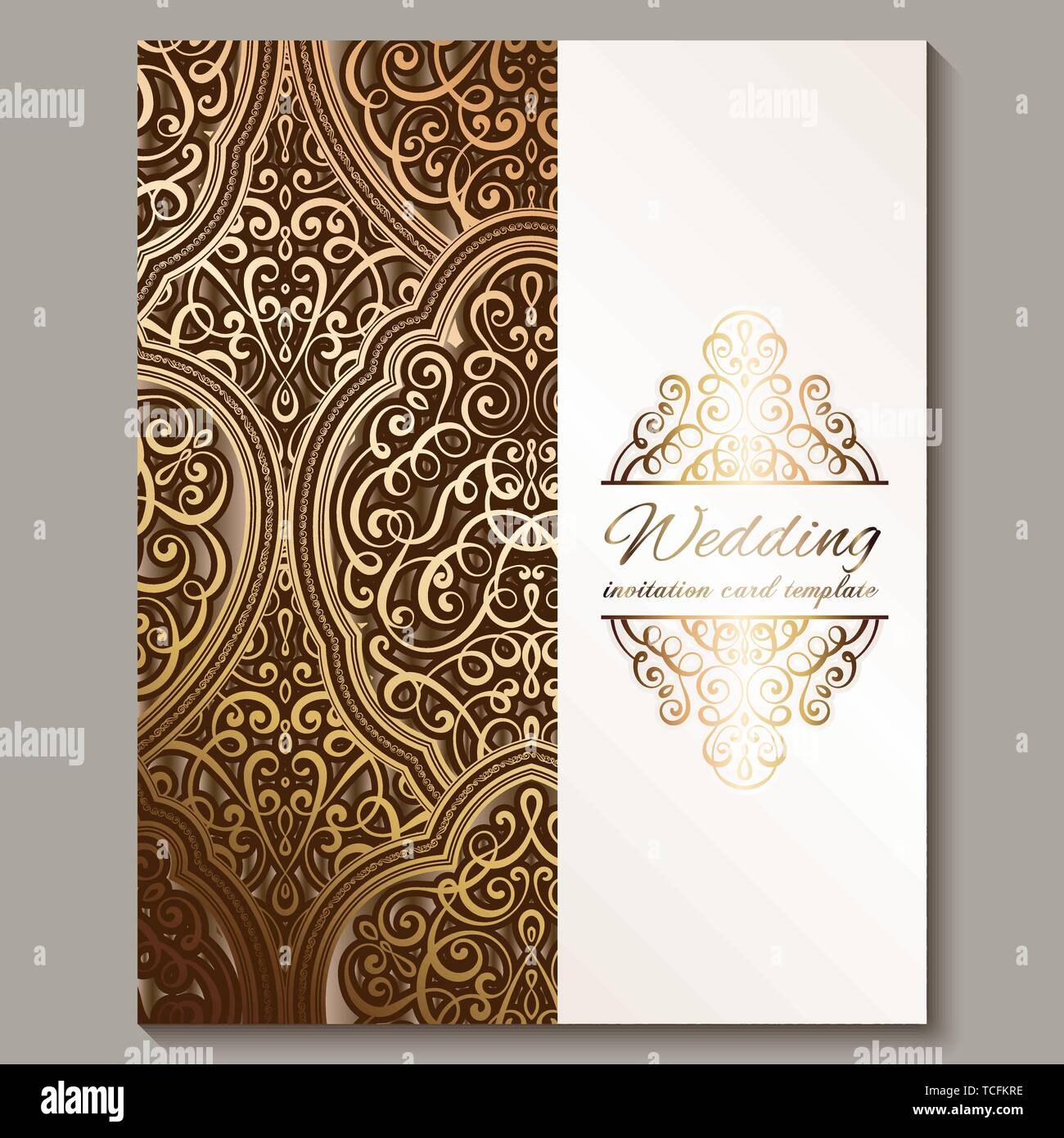 Wedding Invitation Card With Bronze And Gold Shiny Eastern