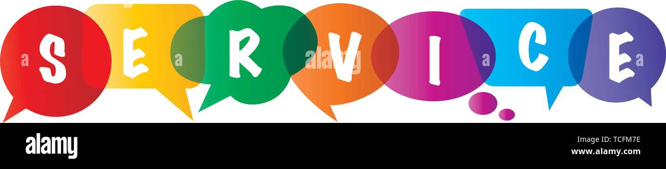 Hello in letters written in different colored and different shaped speech bubbles - Vector Illustration - Stock Image