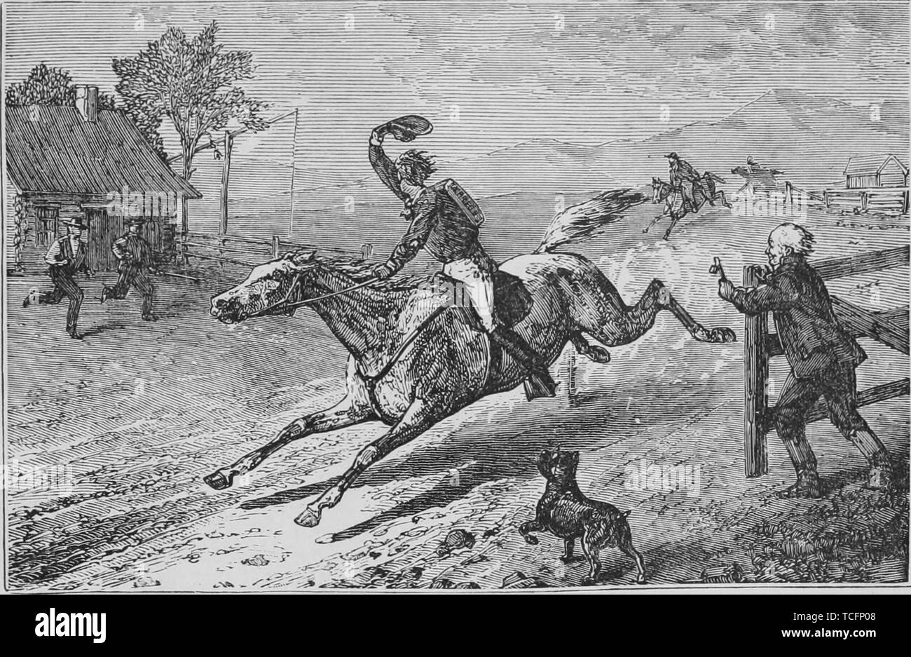 Engraving of the Overland Pony Express pursued by Highwaymen, from the book 'The Pacific tourist' by Henry T. Williams, 1878. Courtesy Internet Archive. () - Stock Image