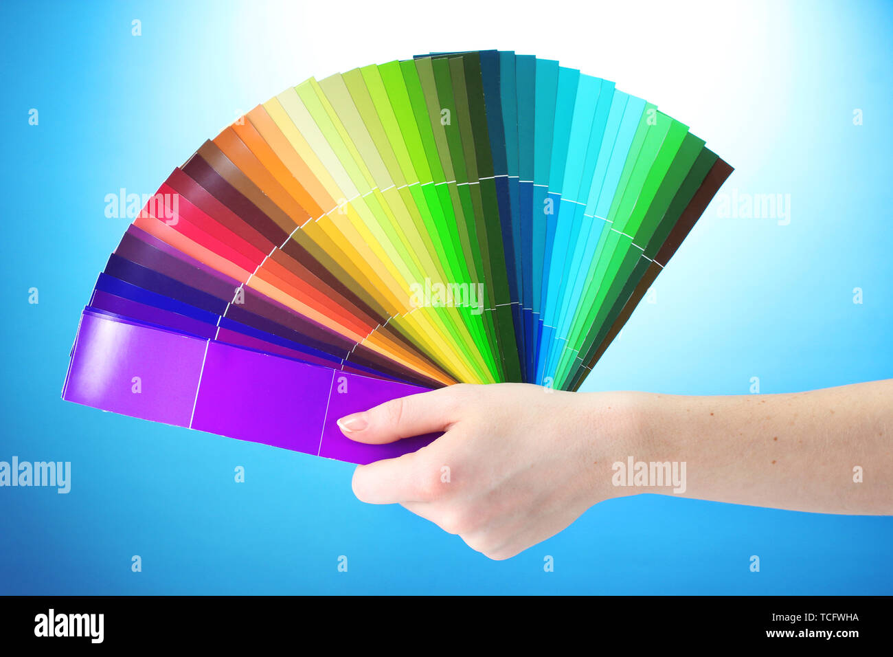 hand holding bright palette of colors on blue background - Stock Image