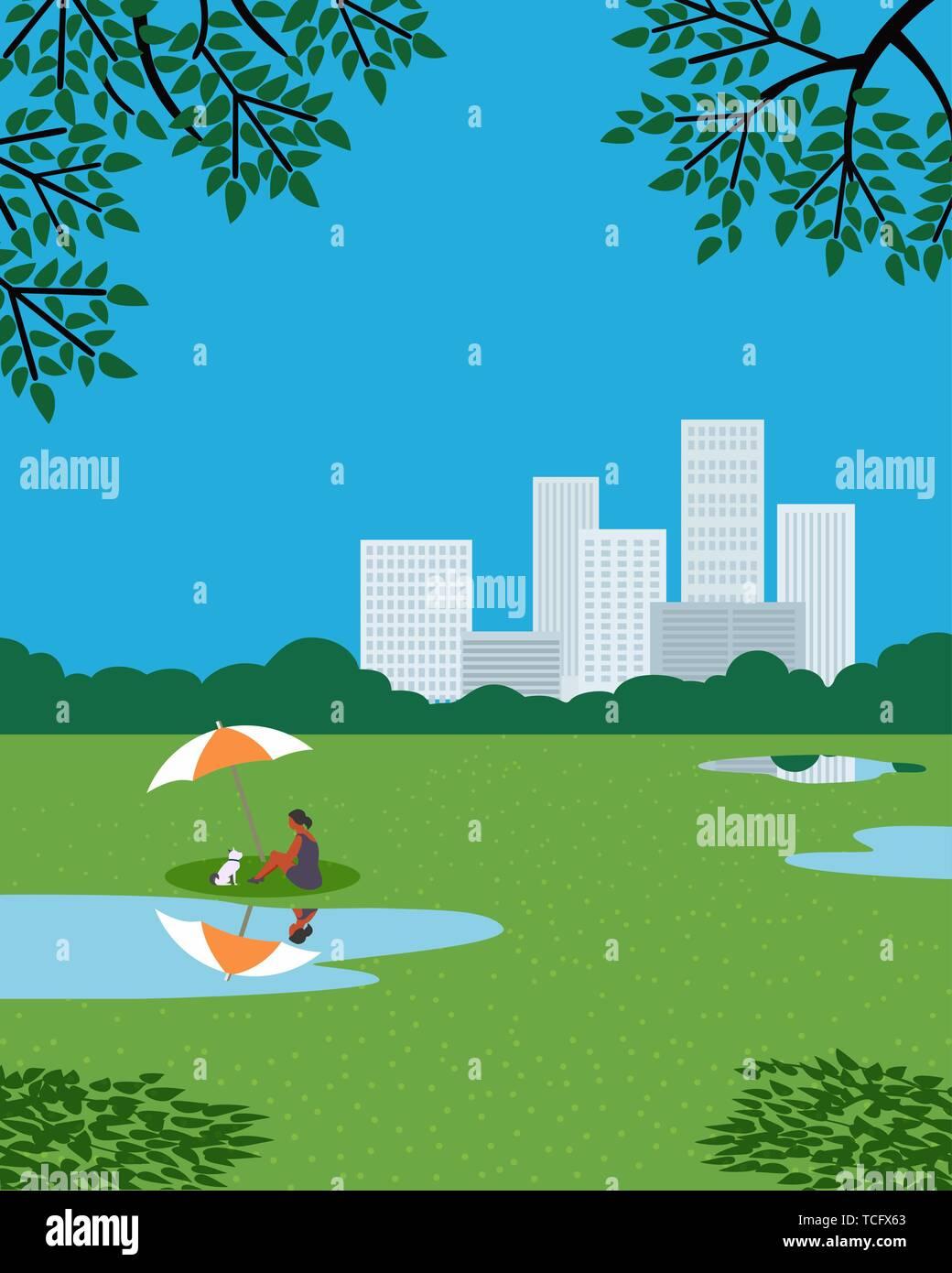 Rest in city garden flat color vector poster - Stock Vector