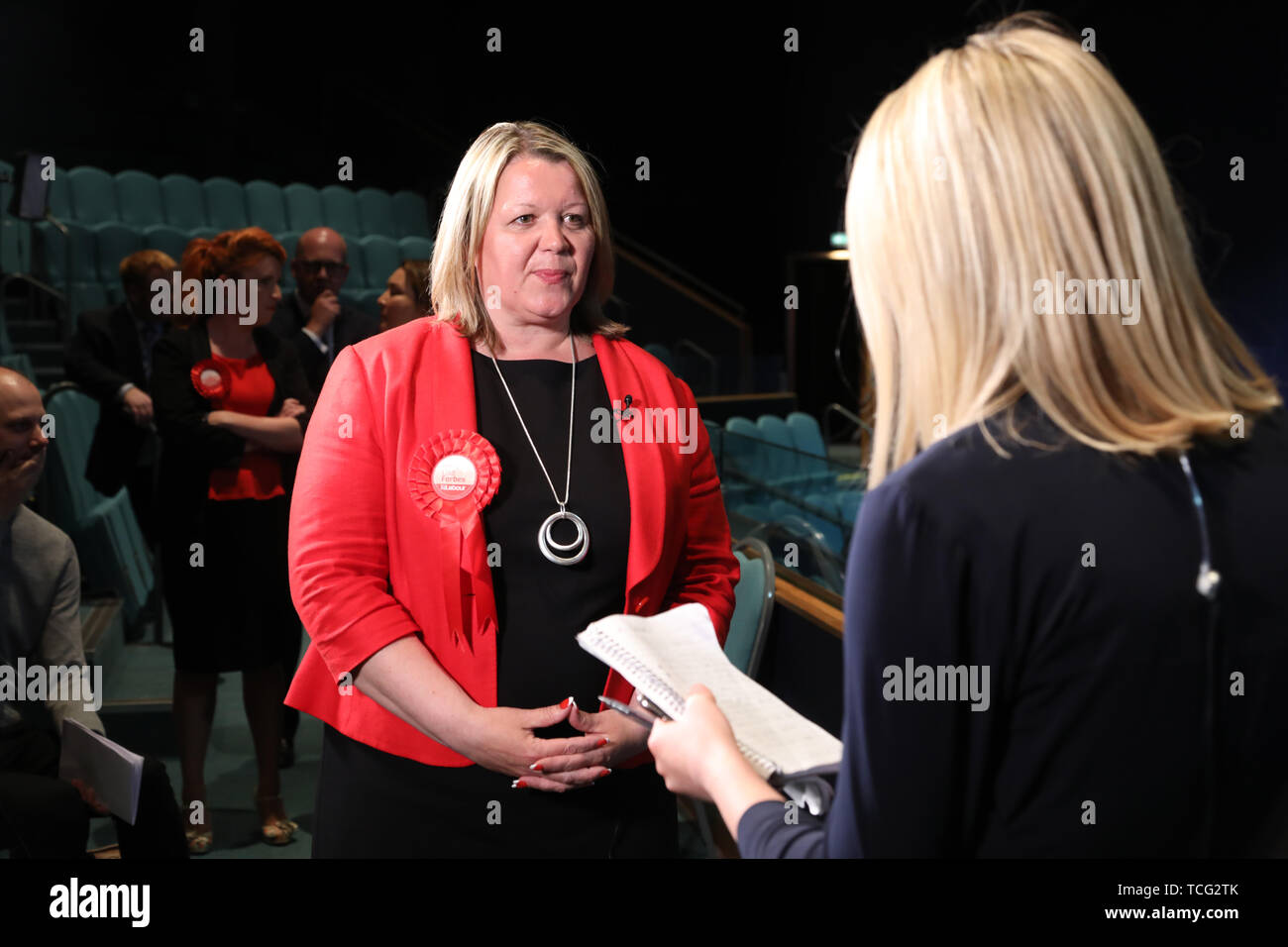 Peterborough, UK. 07th June, 2019. Lisa Forbes (Labour Party Candidate) has become the  new Member of Parliament for Peterborough, beating Mike Greene (Brexit Party candidate) into second place and Paul Bristow (Conservative Party candidate) was third. The by-election was held in Peterborough today after disgraced MP Fiona Onasanya was removed from her post as Peterborough MP when over 19,000 signed a recall petition, following her court appearance over a speeding ticket, and her spell in jail. Peterborough by-election, Peterborough, Cambridgeshire, UK on June 7, 2019. Credit: Paul Marriott/Al - Stock Image