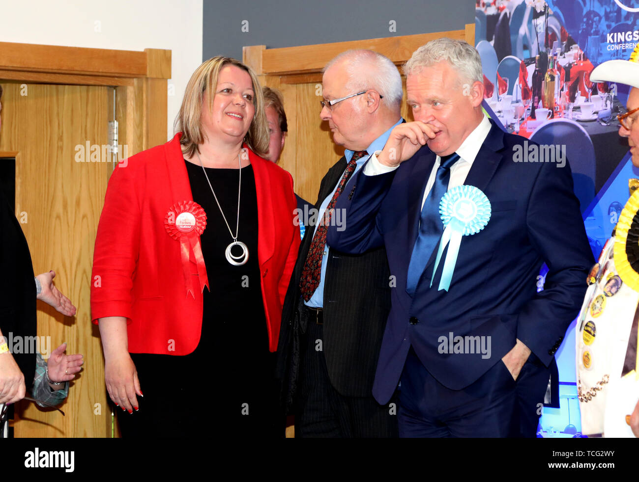Peterborough, UK. 07th June, 2019. Candidates wait for the results before Lisa Forbes (Labour Party Candidate) became the new Member of Parliament for Peterborough, beating Mike Greene (Brexit Party candidate, 2nd right) into second place and Paul Bristow (Conservative Party candidate) was third. The by-election was held in Peterborough today after disgraced MP Fiona Onasanya was removed from her post as Peterborough MP when over 19,000 signed a recall petition, following her court appearance over a speeding ticket, and her spell in jail. Peterborough by-election, Peterborough, Cambridgeshire, - Stock Image