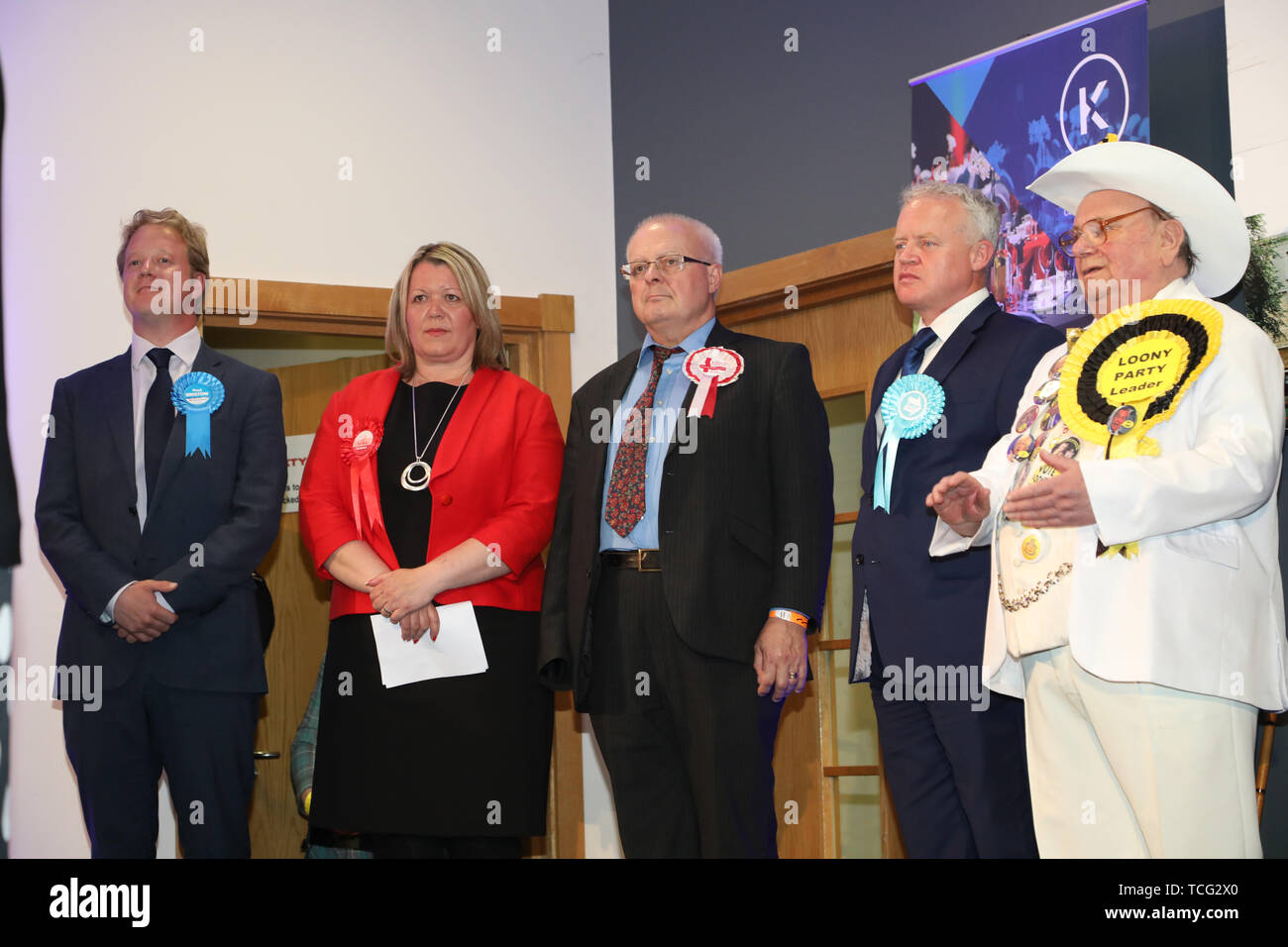 Peterborough, UK. 07th June, 2019. Candidates wait for the results before Lisa Forbes (Labour Party Candidate) has became the  new Member of Parliament for Peterborough, beating Mike Greene (Brexit Party candidate, 2nd right) into second place and Paul Bristow (Conservative Party candidate, left) was third. The by-election was held in Peterborough today after disgraced MP Fiona Onasanya was removed from her post as Peterborough MP when over 19,000 signed a recall petition, following her court appearance over a speeding ticket, and her spell in jail. Peterborough by-election, Peterborough, Camb - Stock Image