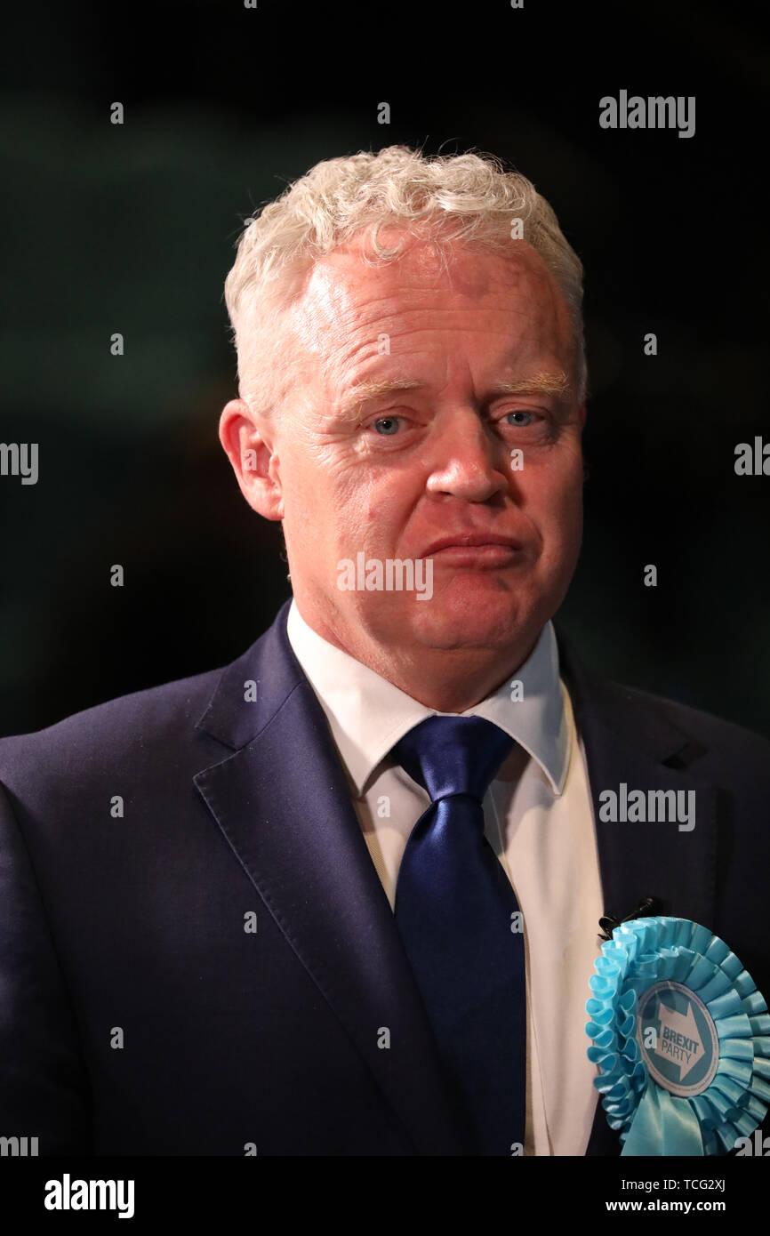 Peterborough, UK. 07th June, 2019. Mike Greene (Brexit Party candidate) gives an interview before the results announcement, when Lisa Forbes (Labour Party Candidate) became the  new Member of Parliament for Peterborough, beating Mike Greene (Brexit Party candidate) into second place and Paul Bristow (Conservative Party candidate) was third. The by-election was held in Peterborough today after disgraced MP Fiona Onasanya was removed from her post as Peterborough MP when over 19,000 signed a recall petition, following her court appearance over a speeding ticket, and her spell in jail. Peterborou - Stock Image