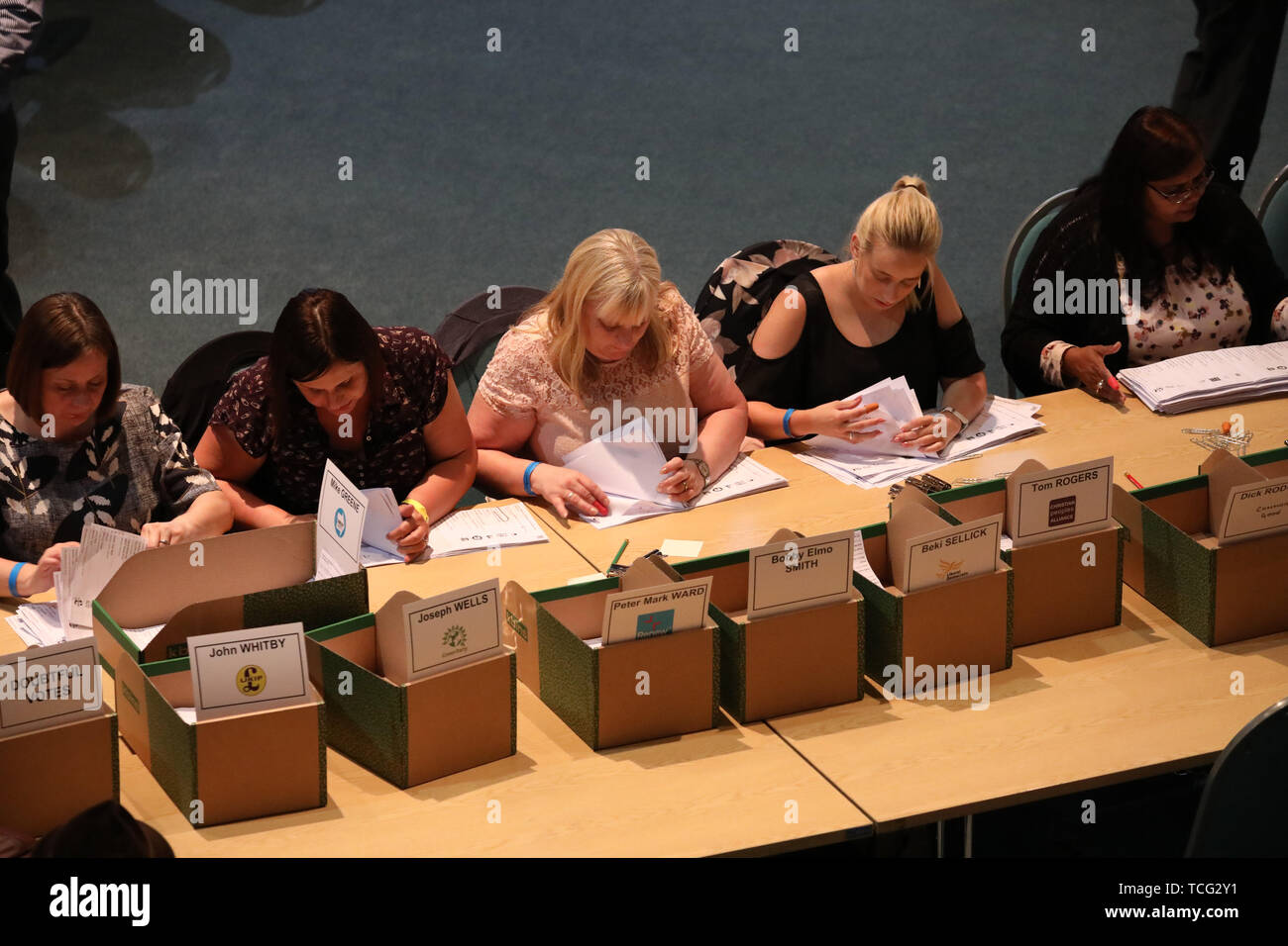 Peterborough, UK. 07th June, 2019. Votes are counted before Lisa Forbes (Labour Party Candidate) became the  new Member of Parliament for Peterborough, beating Mike Greene (Brexit Party candidate) into second place and Paul Bristow (Conservative Party candidate) was third. The by-election was held in Peterborough today after disgraced MP Fiona Onasanya was removed from her post as Peterborough MP when over 19,000 signed a recall petition, following her court appearance over a speeding ticket, and her spell in jail. Peterborough by-election, Peterborough, Cambridgeshire, UK on June 7, 2019. Cre - Stock Image