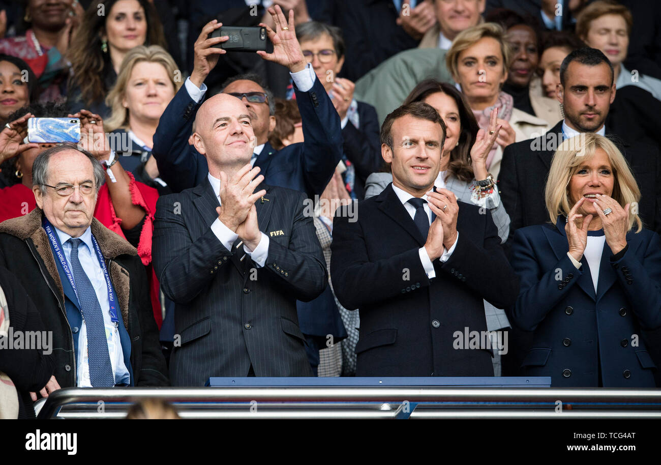 Paris France 7th June 2019 French President Emmanuel Macron 2nd R And Fifa President Gianni Infantino 2nd L Watch The Opening Match Between France And South Korea At The 2019 Fifa Women S