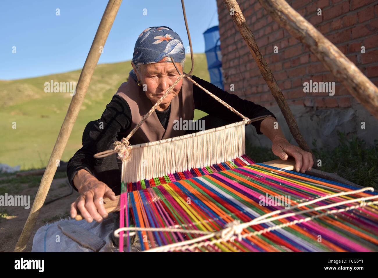 (190608) -- ALTAY, June 8, 2019 (Xinhua) -- A herdswoman is seen weaving in a pasturing area at Fuhai County of Altay, northwest China's Xinjiang Uygur Autonomous Region, on June 5, 2019. As summer comes, herdsmen of Kazak ethnic group here are busy with transferring livestock to summer pastures. (Xinhua/Ding Lei) - Stock Image