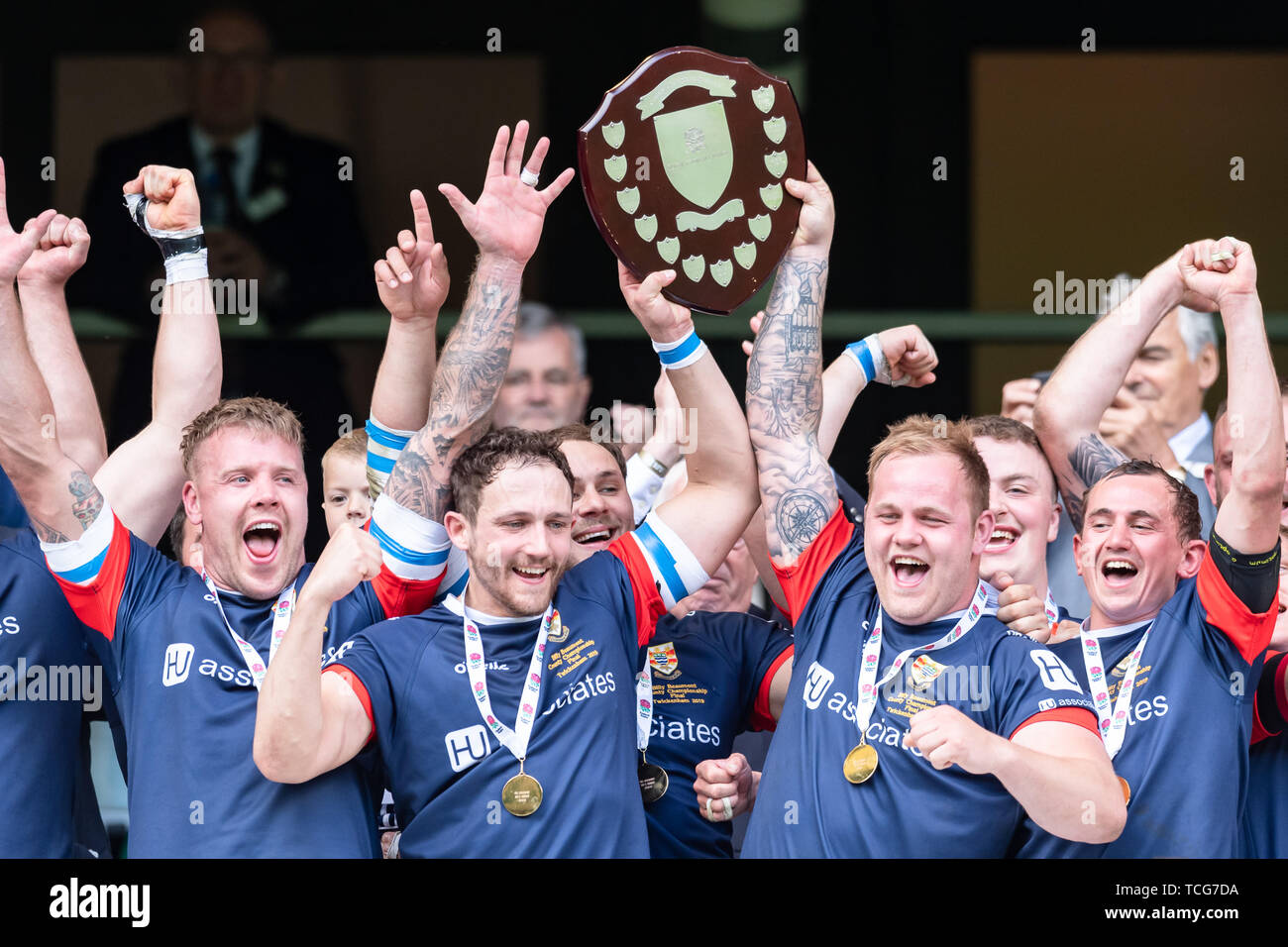 London, UK. 08th, Jun 2019. Cumbria Rugby Team celebrate winning of the Bill Beaumont County Championship Division 3 Final with the trophy during Bill Beaumont County Championship Division 3 Final match betwee Cumbria vs Dorset & Wilts at Twickenham Stadium on Saturday, 08 June 2019. London England .  (Editorial use only, license required for commercial use. No use in betting, games or a single club/league/player publications.) Credit: Taka G Wu/Alamy Live News - Stock Image