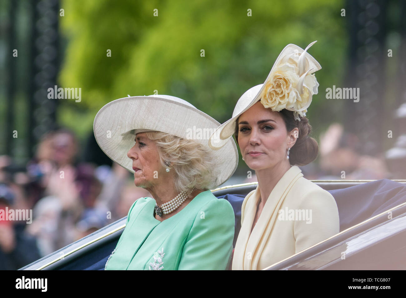 London, UK. 8th June, 2019. Kate and Camilla The Duchesses of Cambridge and Cornwall ride on an open top carriage along The Mall during the Queen's Birthday parade Credit: amer ghazzal/Alamy Live News Stock Photo