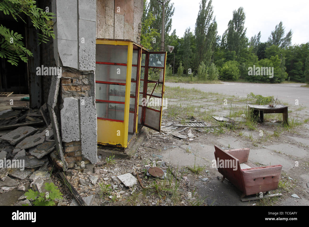 June 7, 2019 - Kiev, Ukraine - A view in abandoned city of Pripyat in Chernobyl, Ukraine, on 7 June 2019. The success of a U.S. HBO's television miniseries 'Chernobyl' has renewed interest around the world on Ukraine's 1986 nuclear disaster. Tourism to Chernobyl has spiked 40% following the debut of the HBO series in May, tour agencies reported . Last April Ukrainians marked the 33rd anniversary of the Chernobyl disaster in then-Soviet Ukraine, caused by a botched safety test in the fourth reactor of the atomic plant that sent clouds of nuclear material across much of Europe. (Credit Image: © - Stock Image
