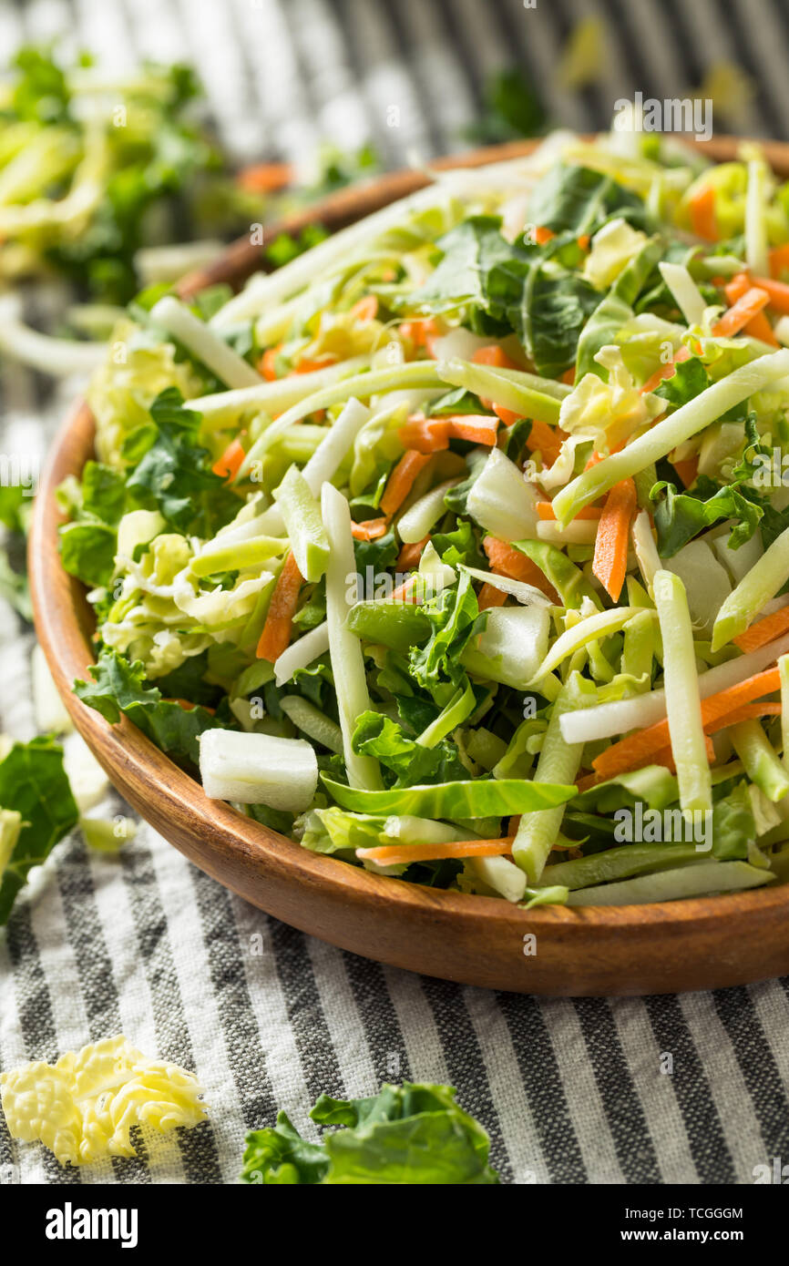 Organic Shredded Superfood Power Cabbage Mix with Broccoli Kale Carrots - Stock Image