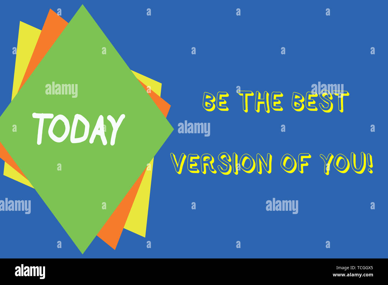 Writing note showing Be The Best Version Of You. Business concept for going to move away from where are start improving Different colored paper sheets - Stock Image