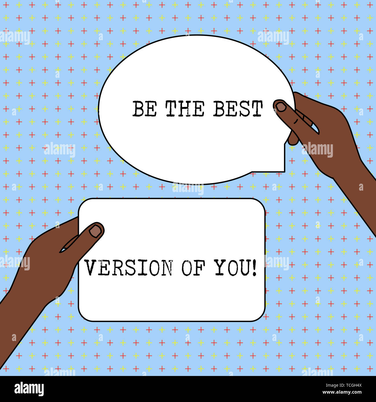Conceptual hand writing showing Be The Best Version Of You. Concept meaning going to move away from where are start improving Two Figured Tablets Sign - Stock Image