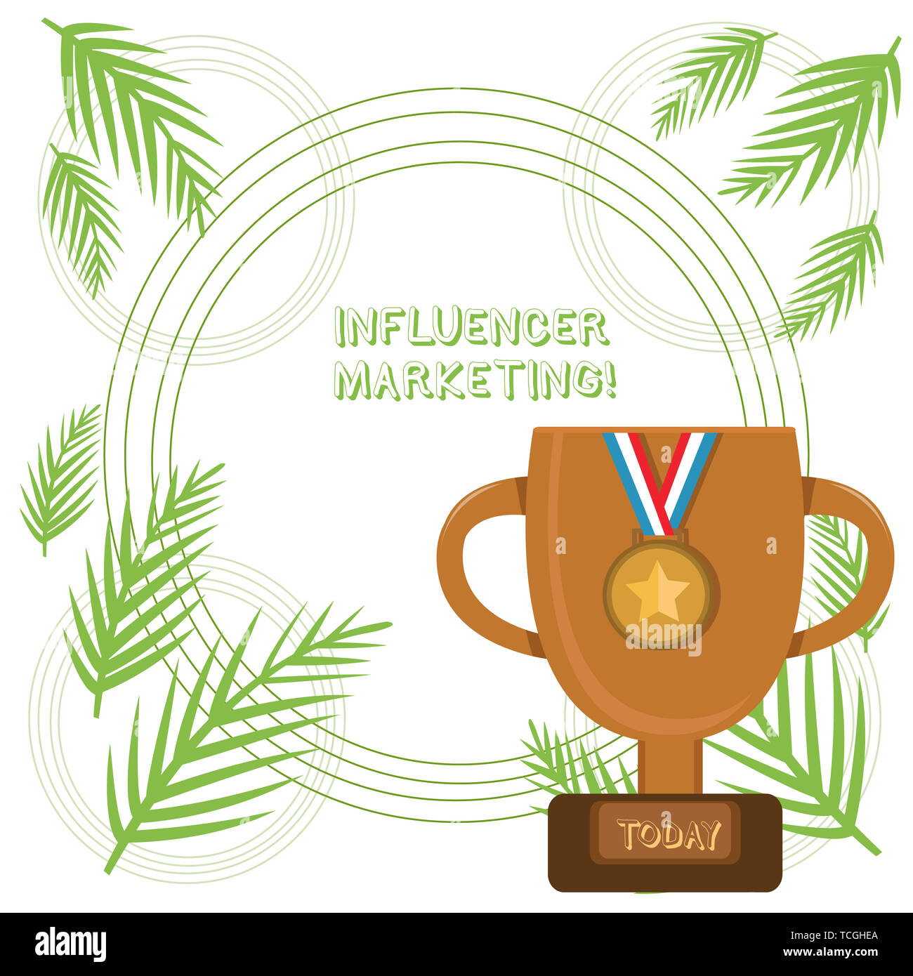 Conceptual hand writing showing Influencer Marketing. Concept meaning Endorser who Influence Potential Target Customers Trophy Cup on Pedestal with Pl - Stock Image