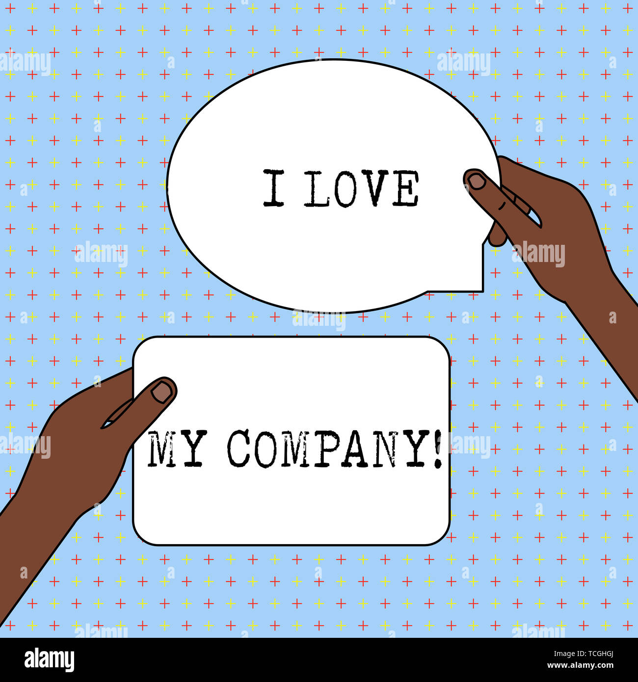 Conceptual hand writing showing I Love My Company. Concept meaning tell why admire their job and workplace Two Figured Tablets Signs Held in Hands One - Stock Image