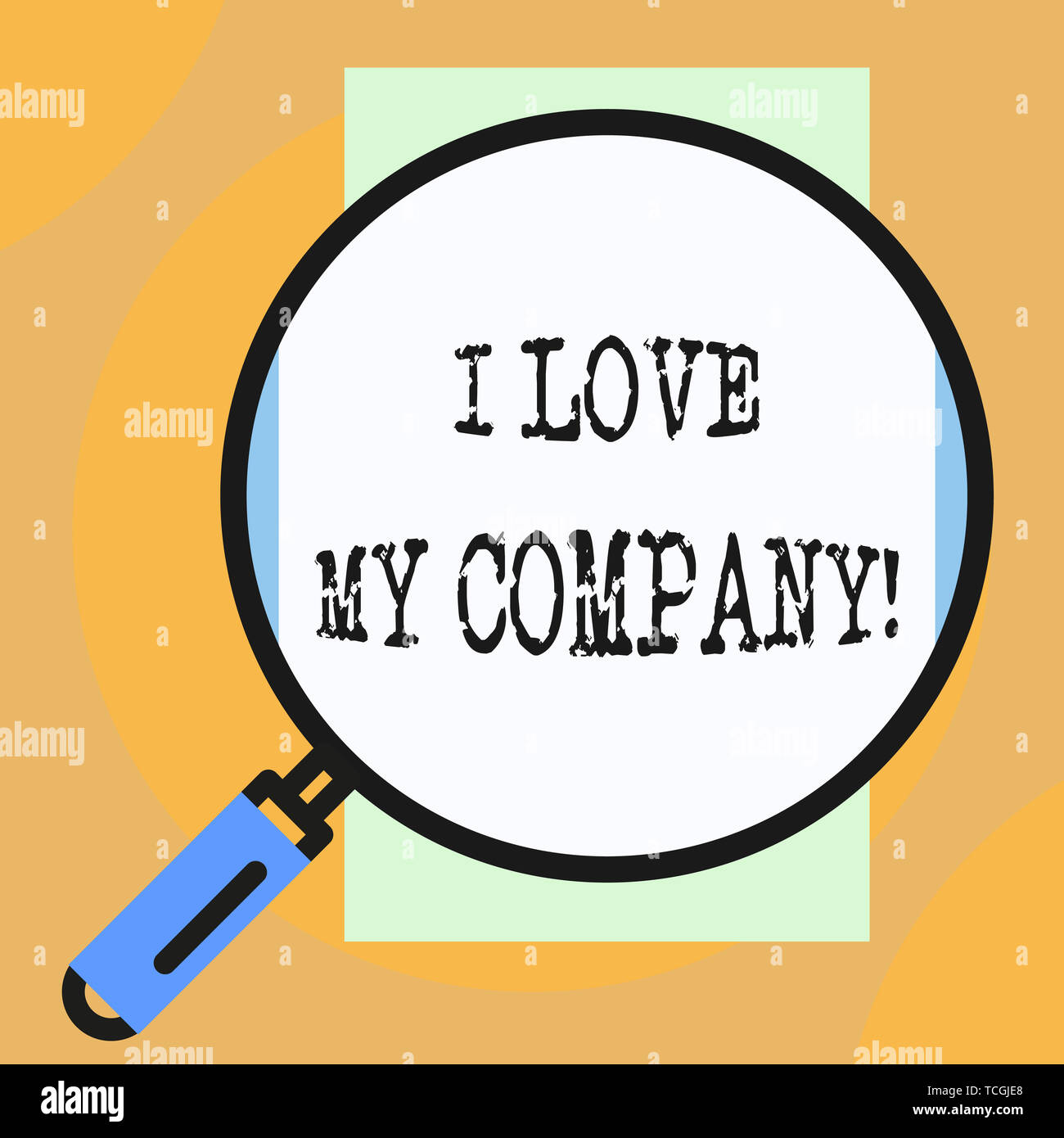 Conceptual hand writing showing I Love My Company. Concept meaning tell why admire their job and workplace Big magnifier glass looking towards vertica - Stock Image
