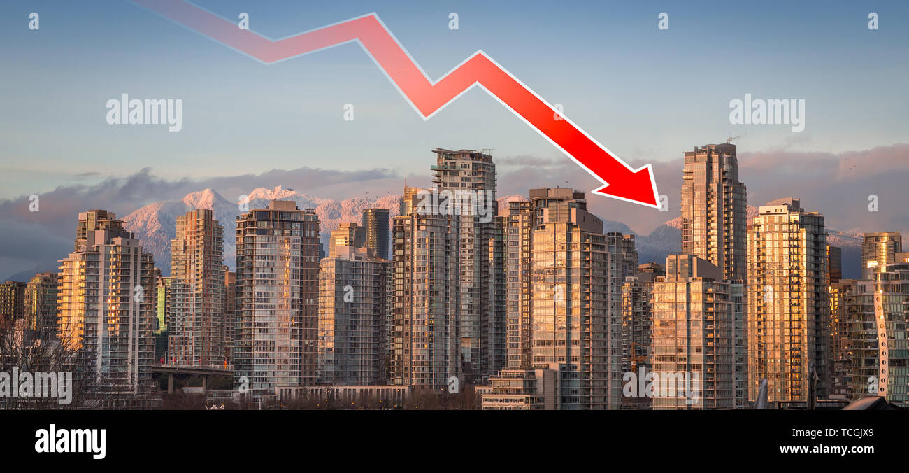 A downward trend arrow superimposed over downtown Vancouver, BC, indicating the falling real estate prices in the area. - Stock Image