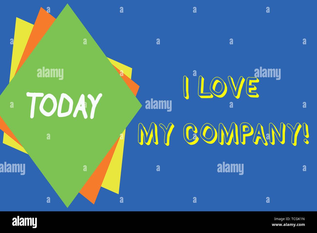 Writing note showing I Love My Company. Business concept for tell why admire their job and workplace Different colored paper sheets light background.  - Stock Image
