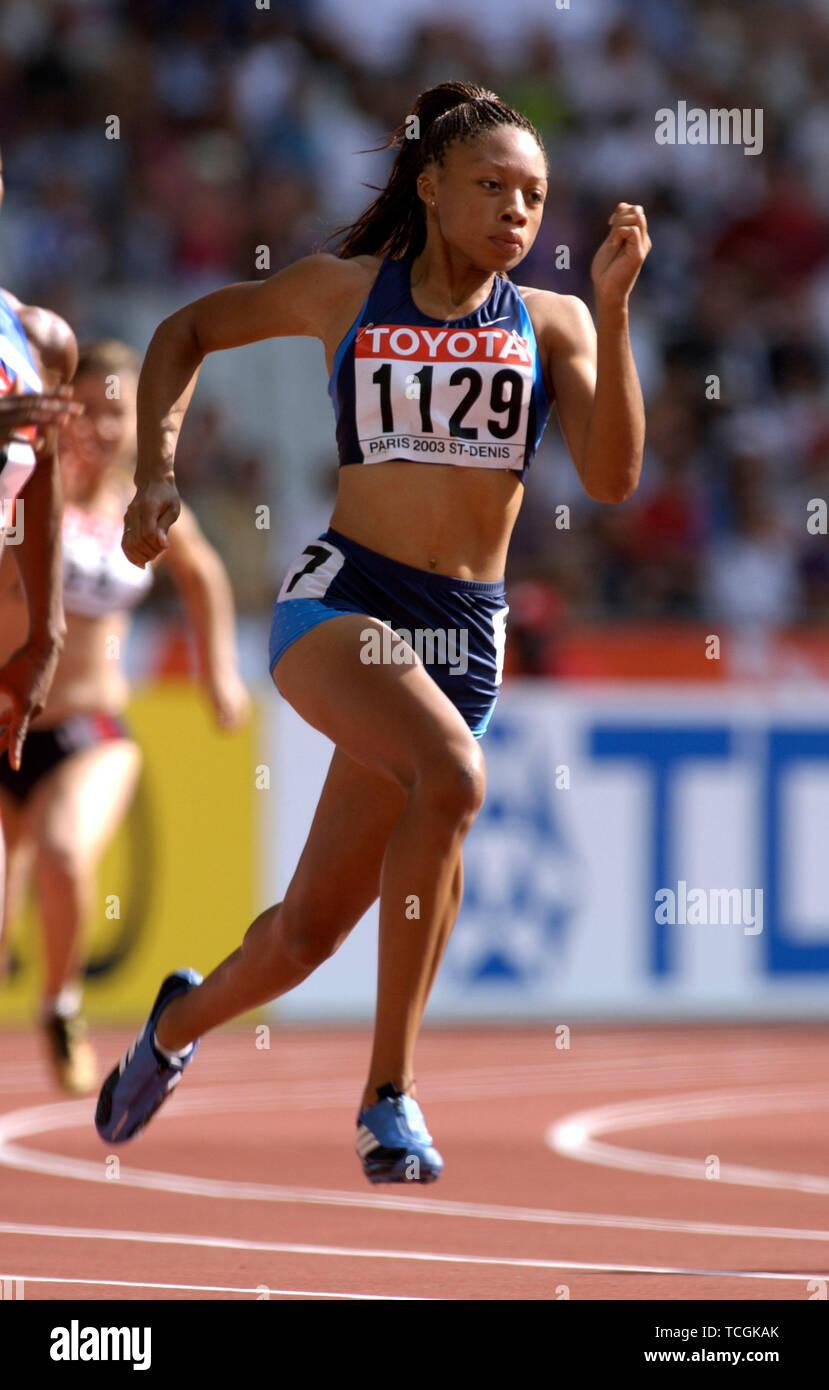 Stade de France Saint Denis near Paris 26.8.2003, IX World Championships in Athletics ---- Allyson Felix (USA), 200m - Stock Image